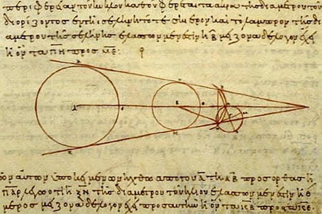 Cálculos de distancia planetaria de Aristarco. Uno de los mayores avances científicos de la astronomía de las civilizaciones antiguas.