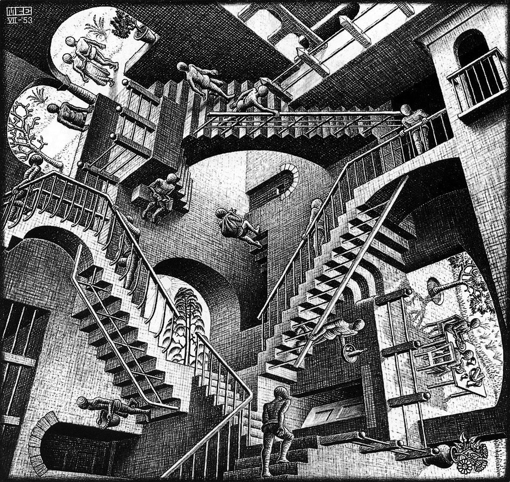 Ascendiendo y descendiendo, ilustración por Escher.
