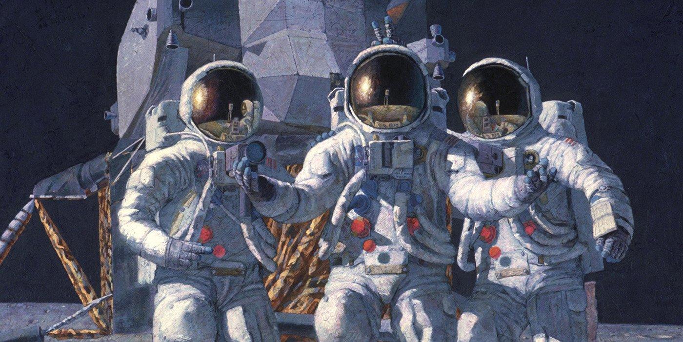Pintura de un grupo de astronautas.