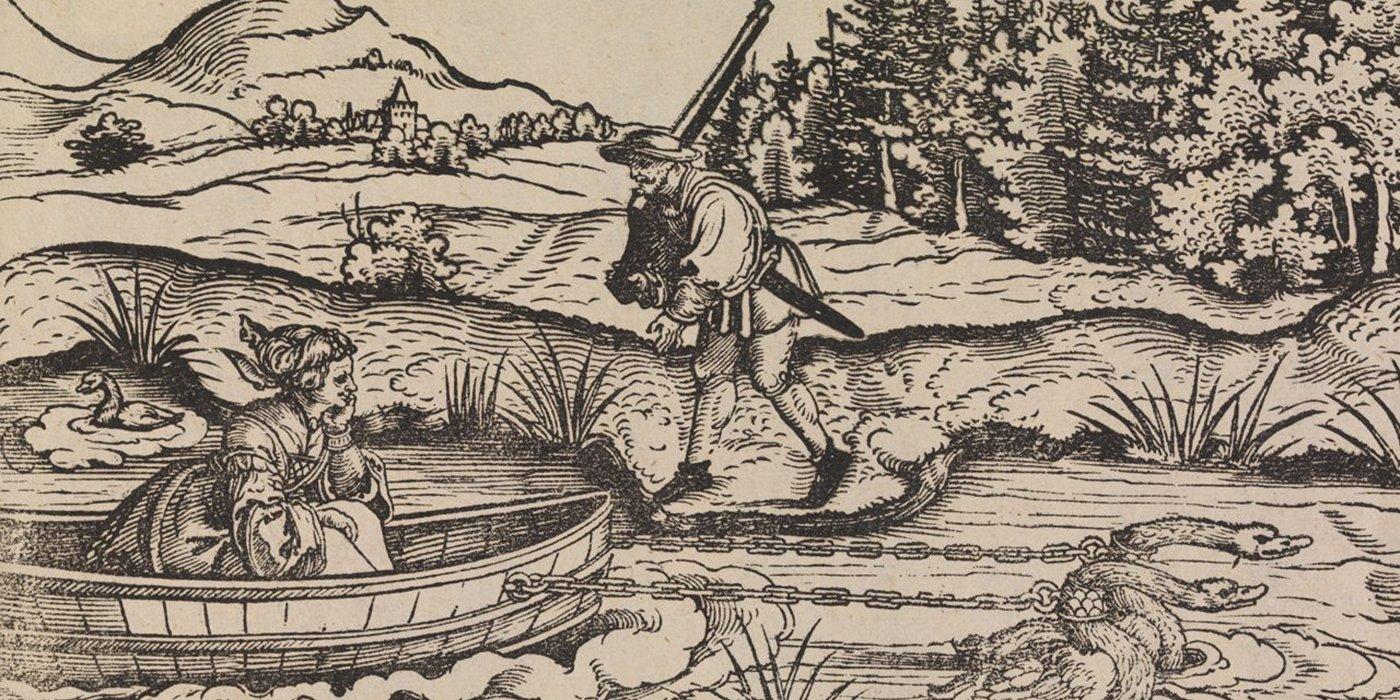Ilustración de Erhand Schön en la cual vemos a una mujer en un bote tirado por patos mientras es observada por un cazador.