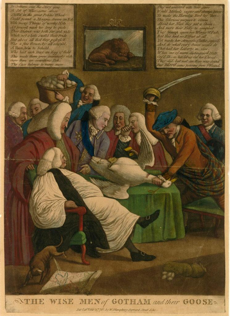 Un grabado mostrando a pobladores intentando sacrificar a un ganso, uno de los más hilarantes casos de evasión fiscal medieval.